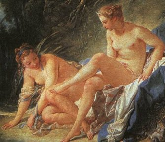 painting of women bathing